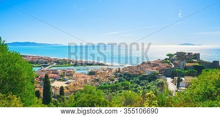 Castiglione Della Pescaia, Old Village And Panorama Of The Coast. Maremma, Tuscany, Italy Europe