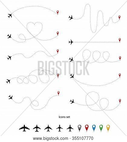 Plane Line Path. Airplane Directional Pathway, Map Dotted Trail And Fly Direction. Aircrafts And Pin
