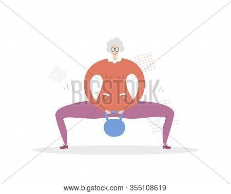 Flat Vector Illustration Senior Fitness. Cute Grandmother Holding A Kettlebell And Doing A Sumo Squa