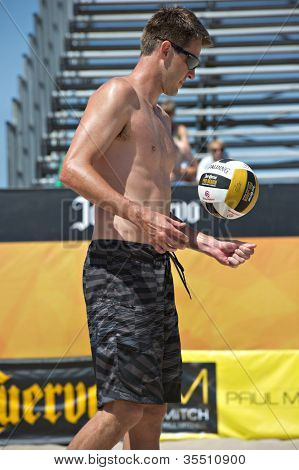 HERMOSA BEACH, CA - JULY 21: Mark Williams  competes in the Jose Cuervo Pro Beach Volleyball tournament in Hermosa Beach, CA on July 21, 2012.