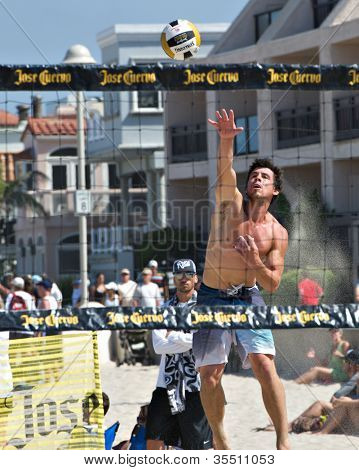HERMOSA BEACH, CA - JULY 21: Derek Olson competes in the Jose Cuervo Pro Beach Volleyball tournament in Hermosa Beach, CA on July 21, 2012.