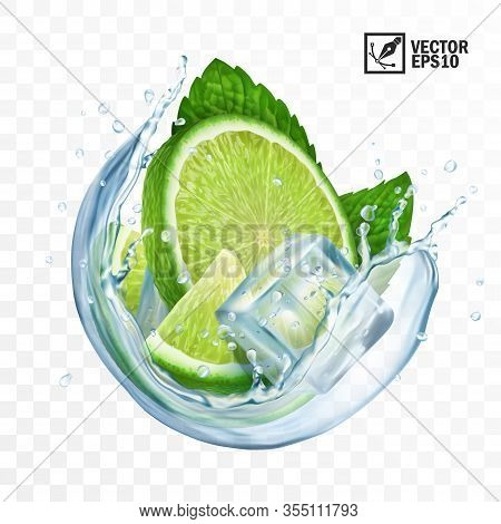 3d Realistic Transparent Vector Circle Splash Mojito, Ice Cubes, Mint Leaves, Water Splash And Lime