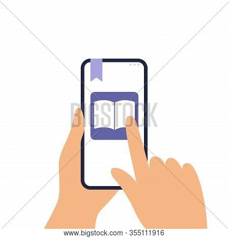 Human Is Holding A Phone And Reading An E-book. Finger Turning A Page On A Screen. Flat Vector Can B