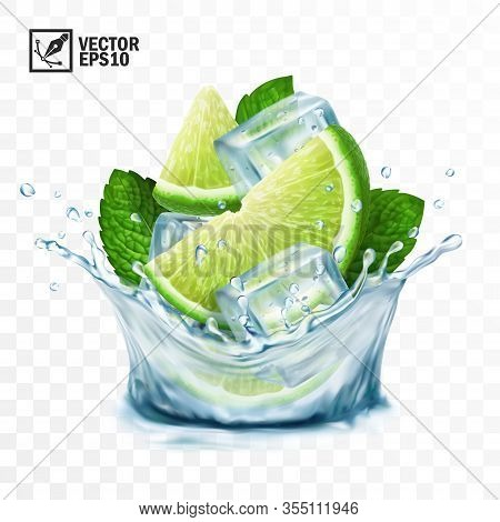 3d Realistic Transparent Vector Splash Mojito, Ice Cubes, Mint Leaves, Water Splash And Lime