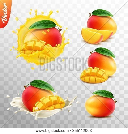 3d Realistic Transparent Isolated Vector Set, Whole And Slice Of Mango Fruit, Mango In A Splash Of J