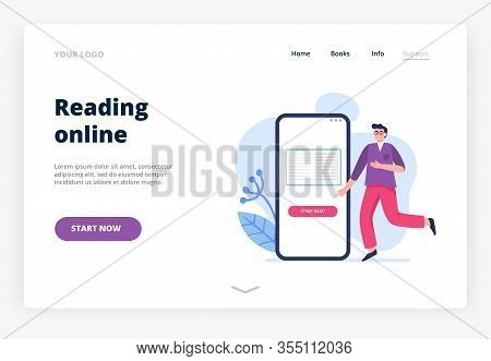 Illustration On Reading Online Theme. A Man Studying And Reading E-book On His Phone. Vector Illustr