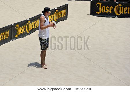 HERMOSA BEACH, CA - JULY 21: Brad Keenan competes in the Jose Cuervo Pro Beach Volleyball tournament in Hermosa Beach, CA on July 21, 2012.