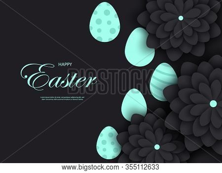 Mint easter egg with holiday greeting - Vector easter illustration. Happy easter greeting card. Mint easter paper cut flowers with mint easter frames, holiday easter background. Vector easter illustration.