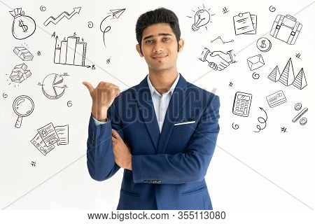 Leader Advertising New Offer With Hand Drawn Business Sketches. Smiling Young Indian Advertising Pro