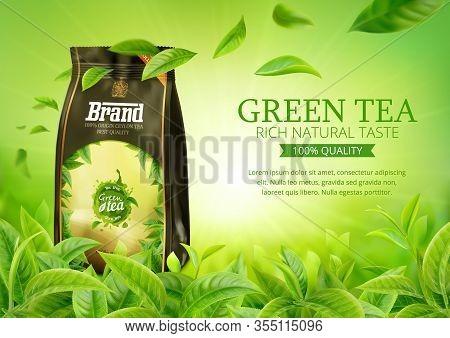 3d Realistic Vector Horizontal Banner, Nature, Tea Plantation, Green Tea Garden Background With Tea