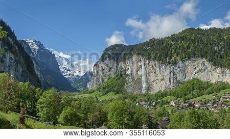 Idyllic Landscape Of Lauterbrunnen Valley In The Bernese Alps, Switzerland.