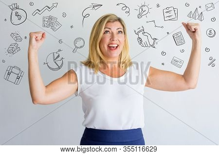Young Lady Enjoying Winning With Hand Drawn Business Sketches. Ecstatic Attractive Woman Making Yes