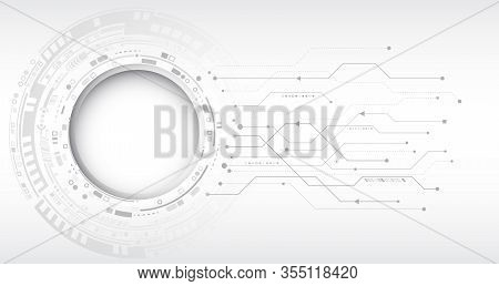 Grey Background With Various Technological Elements. Hi-tech Computer Digital Technology Concept. Ab
