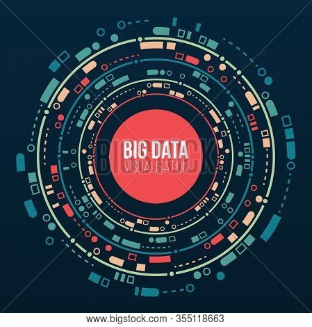 Big Data Connection Complex. Big Data Visualization. Abstract Background With Array Circles And Line