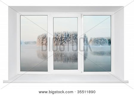 White plastic triple door window with tranquil view