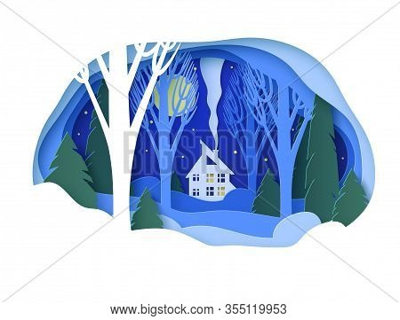 Winter Paper Landscape With House. Snowy Forest With Trees Without Leaves And Fir Trees. Snowdrifts,
