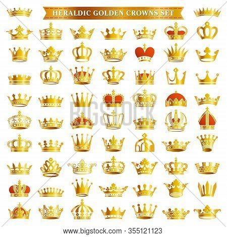 Big Set Of Golden Royal Crown Tiara King Queen Headwear Heraldic Silhouette Icons