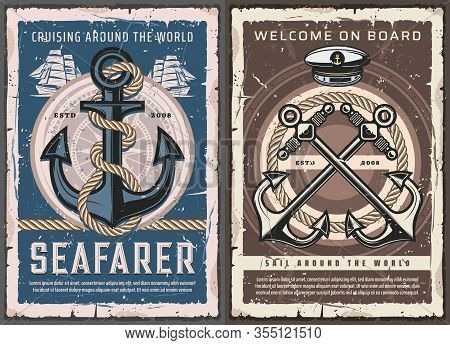 Sea Ship Anchors, Sail Boat Helm And Ropes, Vintage Nautical Compass And Captain Hat Vector Design O