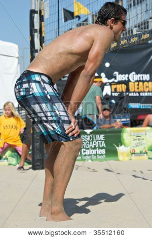 HERMOSA BEACH, CA - JULY 21: Danko Iordanov competes in the Jose Cuervo Pro Beach Volleyball tournament in Hermosa Beach, CA on July 21, 2012.