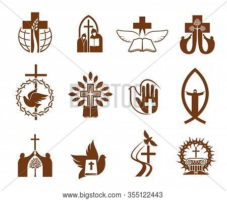 Christian Religion Vector Icons With Crosses, Jesus And Bibles, Doves, Priest And Prayers, Angel, Pr