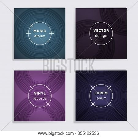 Geometric Plate Music Album Covers Collection. Semicircle Curve Lines Patterns. Futuristic Plate Mus