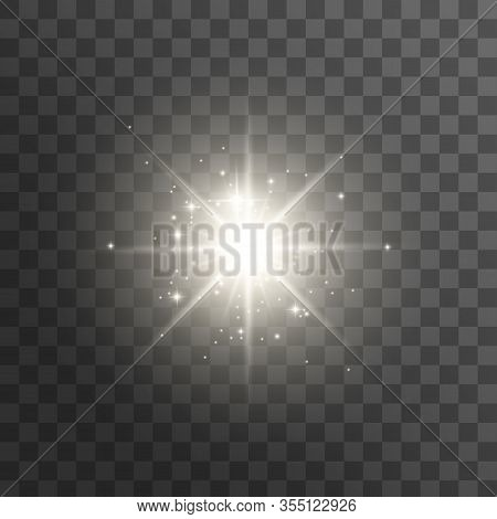 White Glowing Light Burst Explosion Transparent. Vector Illustration For Cool Effect Decoration With