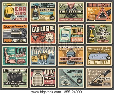 Car Spare Parts, Maintenance Vector Retro Posters. Vehicle Repair Service Wrench, Spanner, Wheel And