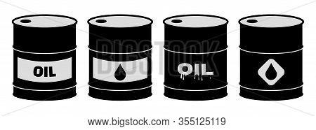 Set Of Oil Barrel Icons. Black Crude Oil Barrels Vector Illustration.