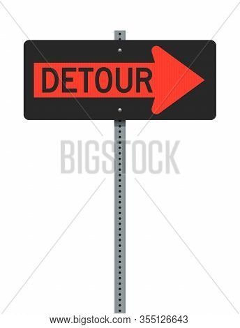 Vector Illustration Of The Detour Right Arrow Orange Road Sign On Metallic Post (easily Editable To