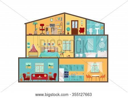 House Model From Inside. Detailed Interiors With Furniture And Decor In Flat Style. Big House In Cut