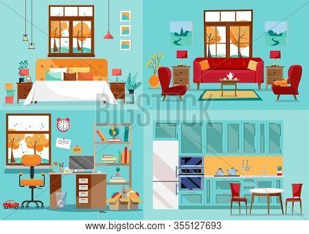 House Interior 4 Rooms. Inside Front Views Of Kitchen, Living Room, Bedroom, Nursery. Furnishing Int