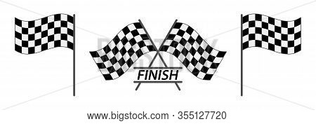 Set Of Finish Flag. Finish Flag For Car Racing Flat Vector Icon For Apps And Websites. Vector Illust