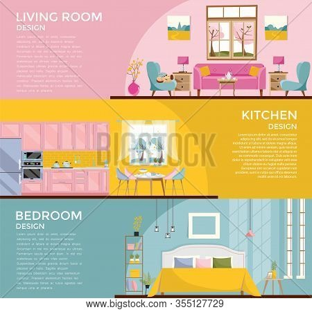Set Of Colorful Graphic Room Interiors Living Rooms With Sofa, Window, Armchair, Bedroom With Bed Ki