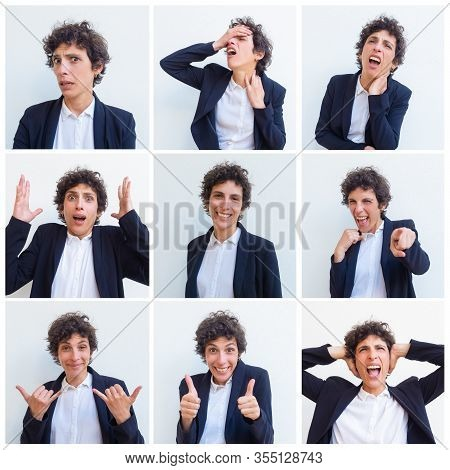 Funny Curly Haired Woman Portrait Set With Different Hand Gestures And Facial Expressions. Business