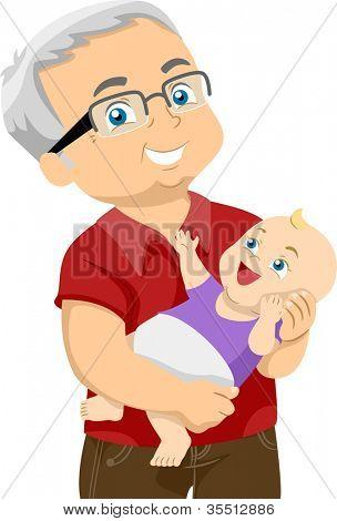 Illustration Featuring an Elderly Man Holding His Grandchild