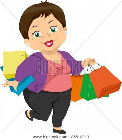 Illustration Featuring an Elderly Woman Shopping