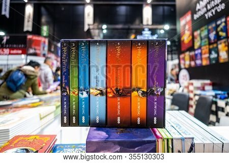 Eskisehir, Turkey - December 14, 2019: J.k. Rowling Harry Potter Books Exhibited On The Stand At Esk