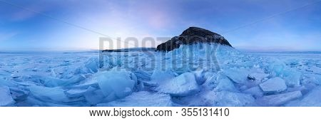 Ice Hummocks Field Of Lake Baikal At The On Olkhon Island. Cylindrical Panorama 360