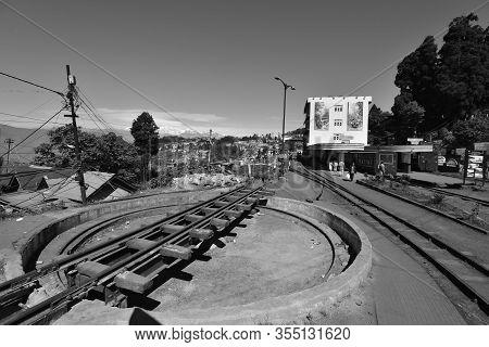 West Bengal, India - October 29, 2019: Famous Narrow-gauge Darjeeling Himalayan Railway, Unesco Worl
