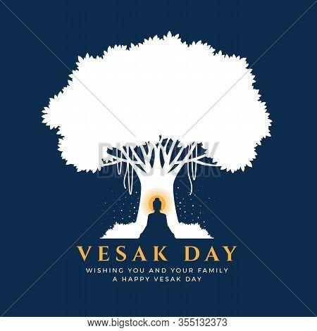 Visak Day With Nightly Scenery Buddha Meditation Under Bodhi Tree On Blue Background Vector Design