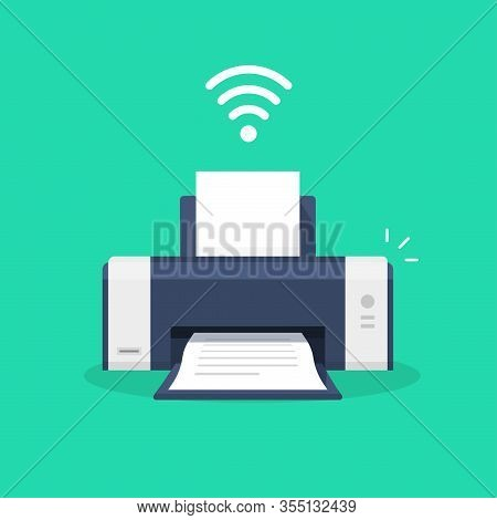 Printer Icon With Wifi Wireless Symbol Or Ink Jet Fax Wi-fi Print Technology Pictogram Flat Cartoon
