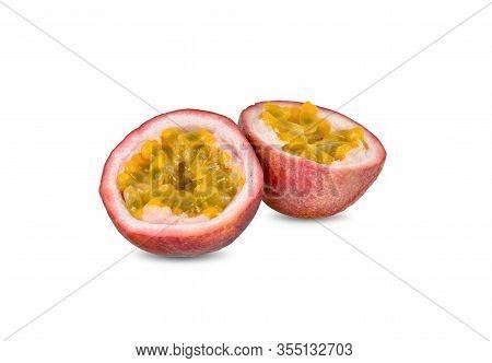 Half Cut Ripe Passion Fruit On White Background