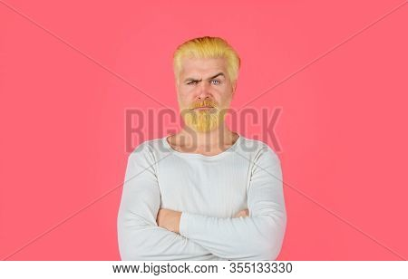 Barbershop. Bearded Man With Dyed Blonde Hair. Handsome Man With Stylish Haircut. Blonde Hipster Guy