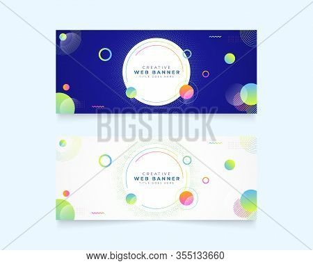 Templates Of Horizontal Web Banner With Circles Elements And Space For Texts. Web Banner , Website B