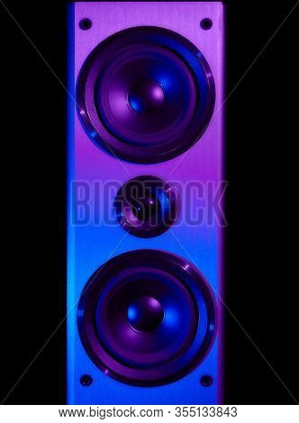 Retro Wave, 80s. Frontal Image Audio Speaker With Neon Light. Synthwave And Vaporwave Concept.