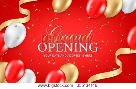 Grand Opening Party Invitation Card, Poster, Flyer With Golden Sparkles Confetti, Gold, Silver And R