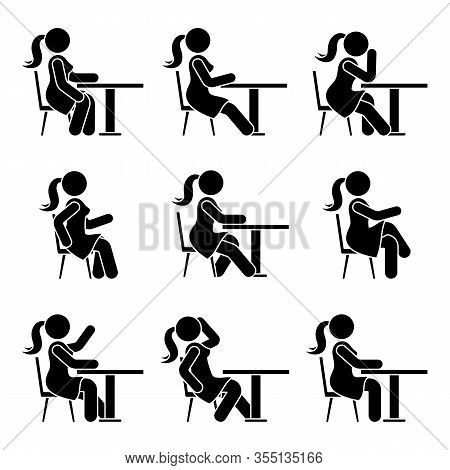 Sitting On Chair At Desk Stick Figure Woman Side View Poses Pictogram Vector Icon Set. Girl Silhouet