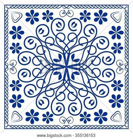 Blue Ceramics Tile Design, Symmetric Cobalt Patterns On White Background, Ceramic In Portuguese Or S