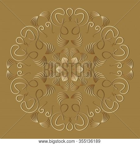 Vintage Ornament In Luxurious Gold Design. Circle Geometric Patterns With 3d Embossed Effect. Antiqu