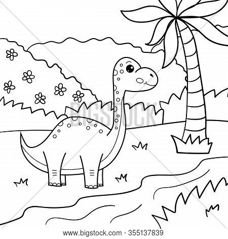 Coloring Page For Children. Cute Cartoon Kawaii Brachiosaurus. Vector Dinosaur. Outline Illustration